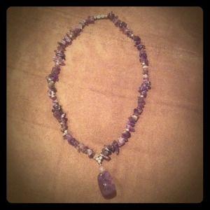 Purple rock necklace