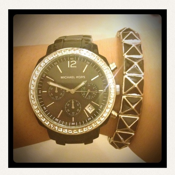 Michael Kors Jewelry - 💢reserved💢Black Michael Kors watch with crystals 3