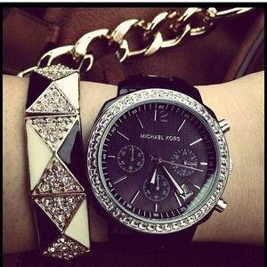 Michael Kors Jewelry - 💢reserved💢Black Michael Kors watch with crystals