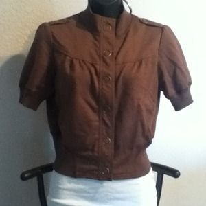 Sweaters - REDUCEDShort sleeve brown button up cover up.