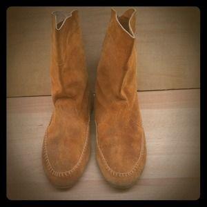 Vintage leather fringe boots