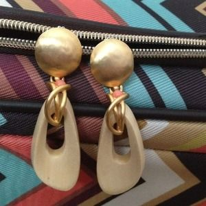 Jewelry - Lazuli ivory, coral, gold tone pierced earrings