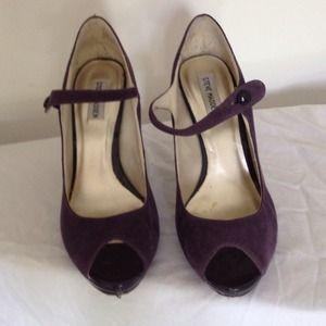 Purple suede peep toe pumps