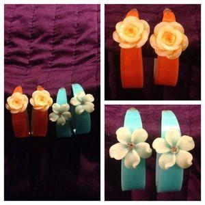Acrylic Flower Hoop Earrings