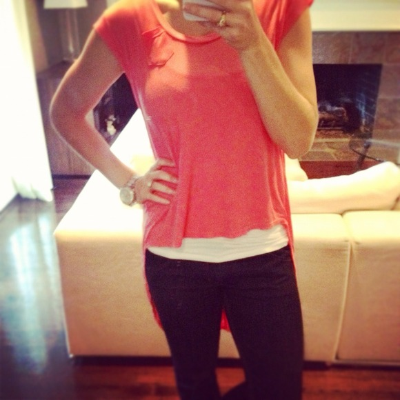 Reduced!! High Low Coral Top