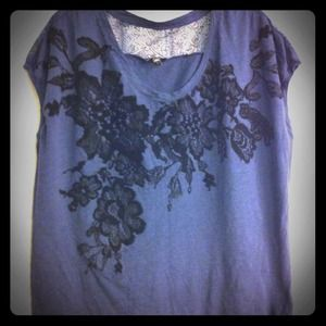 SOLD - Express navy/black floral appliqué lace top