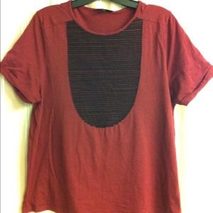 TOPSHOP wine colored tee with black bib detail