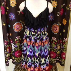 Dresses & Skirts - NWT Ikat print dress w/ black ruffle tank styletop
