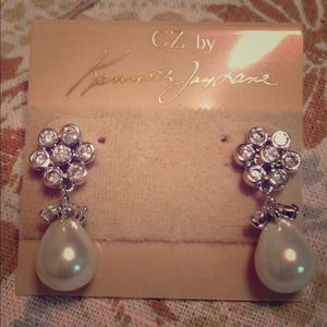 Kenneth Jay Lane Jewelry - Lovely pearl earrings with CZ