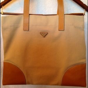 Prada Handbags - **RESERVED for surferchic** PRADA Tan Canvas Tote