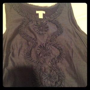 Jcrew blue ruffled blouse
