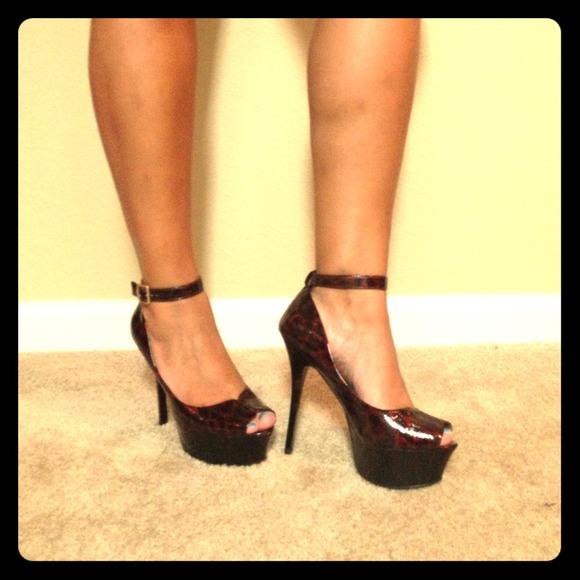 Burgundy patent cheetah print heels