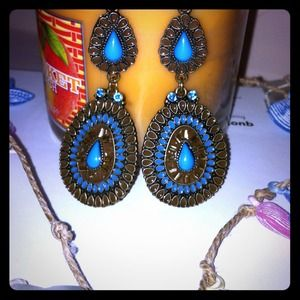 J. Crew Accessories - Blue teardrop earrings