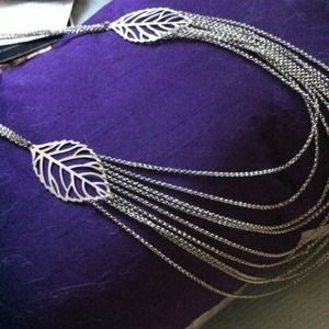 Jewelry - long silver leaf multi-chain necklace