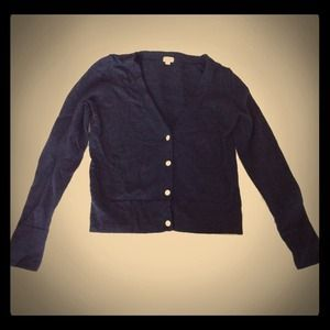 JCREW Wool Navy Blue Sweater with Sparkly Buttons
