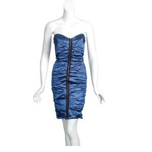 Nicole Miller electric blue strapless dress