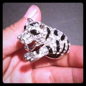 Jewelry - Jeweled tiger cocktail pave Ring w/ black stripes