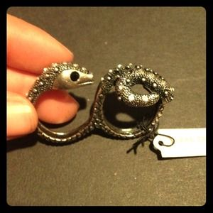Jewelry - Jeweled pave Snake cocktail ring w/ black eyes