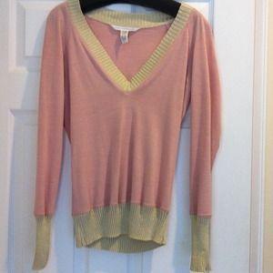Diane Von Furstenburg pink and gold light sweater