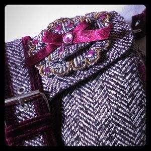 burgundy herringbone and velvet purse