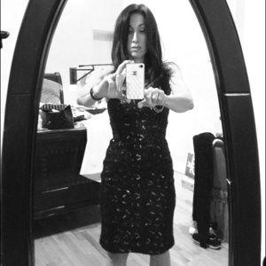 BANANA REPUBLIC Black Boucle Sequin Dress size 0