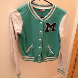 Jackets & Blazers - Turquoise letterman jacket