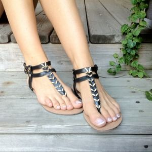 Shoes - *RESERVED* Black and Gold Sandals