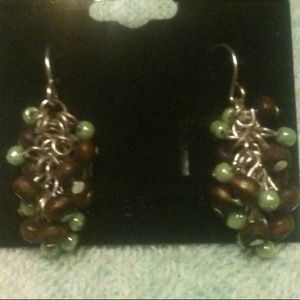 Jewelry - Green and brown bead dangle earrings