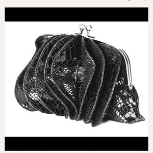 Handbags - Faux crocodile black clutch