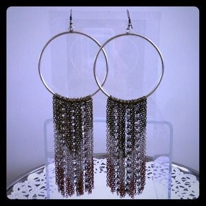 Statement chained hoop earrings
