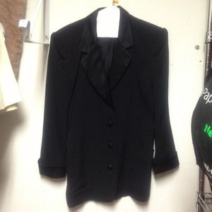 Jackets & Blazers - PerSe blk pantsuit with blk rhinestone trim
