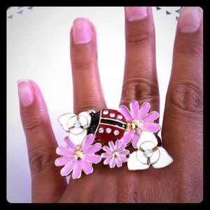 Ladybug and flower ring.