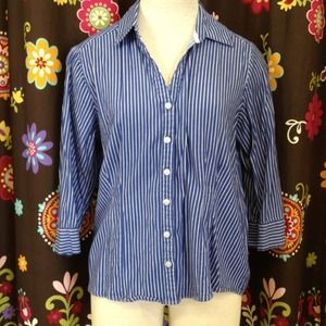 Tops - Blue & white stripe collared button down shirt