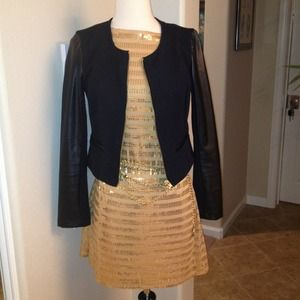 Gold striped sequin mini-dress.