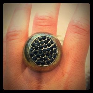 Dark gold ring with black faux crystals