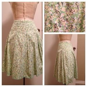 New York & Company Dresses & Skirts - New York & CO Green/Yellow Print Pleated Skirt