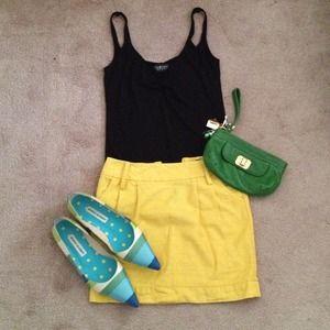 Yellow Linen Mini Skirt
