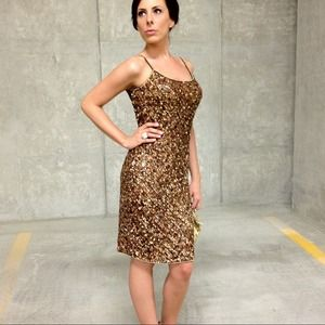 Adrianna Papell  Dresses - Gold Sequin Dress 1