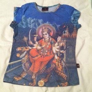 "Tops - Hindu tee of goddess Durga ""the invincible."""