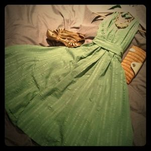 Dresses & Skirts - Green backless halter dress