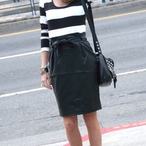 H&M Dresses & Skirts - Faux leather Tie Waist pencil Skirt