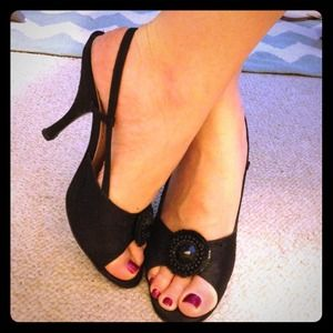 Yves Saint Laurent Shoes - Great deal! YSL Black shatung peep toe sandals