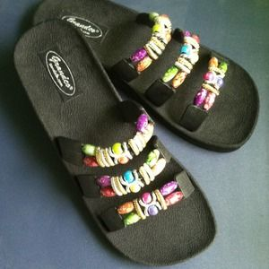 Shoes - Black Beaded Sandals