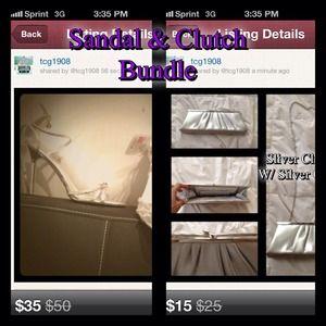 Silver Sandal & Clutch Bundle