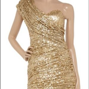 Gold Sparkle One Shoulder Dress