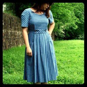 Dresses & Skirts - Vintage Denim Striped Dress