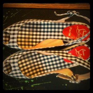 Christian Louboutin Shoes - 🚫reserved 🚫Auth Louboutin plaid wedge sandals