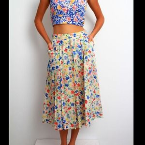 Floral cotton 50's A line skirt