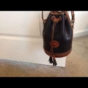 Navy blue and brown handbag