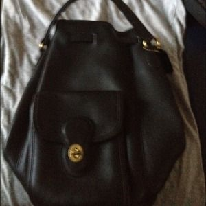 Coach Chic black double strap backpack
